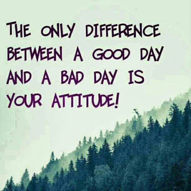 The only difference between a good day and a bad day is your attitude!